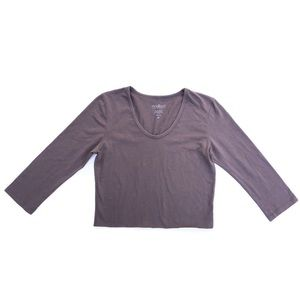 Mod Bod Gray 3/4 Sleeve Cropped T-shirt Scoop Neck